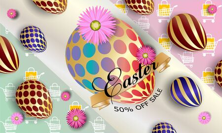 Happy easter background template with beautiful flowers, ribbon and eggs. Greeting Card.
