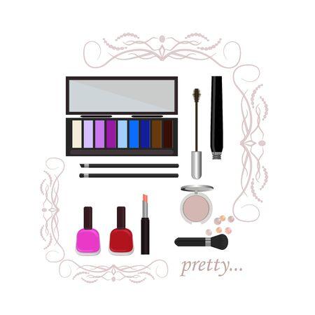Set of decorative cosmetics, shadows, lipstick, mascara, blush.