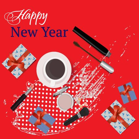 Greeting  card Happy New Year  with gifts, and beauty cosmetics, lipstick, mascara, blush. Vector. Ilustração