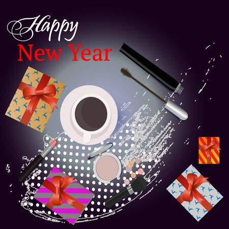 Greeting  card Happy New Year  with gifts, and beauty cosmetics. Vector.