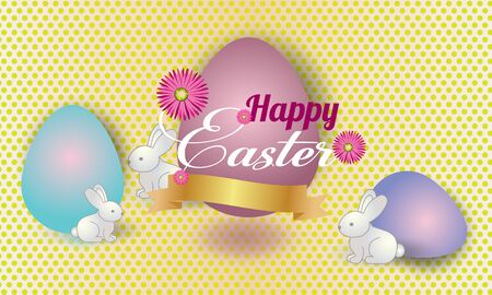 Easter  banner background template with beautiful colorful spring flowers, rabbits and eggs.