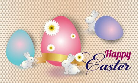 Happy Easter. Vector set of easter bunnies for card, poster, flyer and other users.