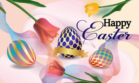Easter  banner background template with beautiful colorful spring flowers tulips and eggs.