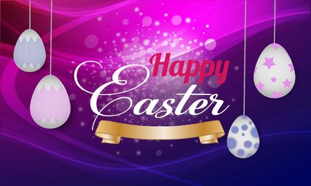 Happy Easter background template with   eggs. Vector illustration. - Images vectorielles