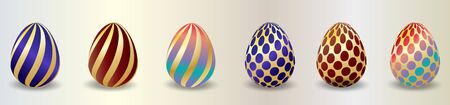Set of color Easter eggs with shadow. Traditional symbol of Easter isolated on white background. Çizim