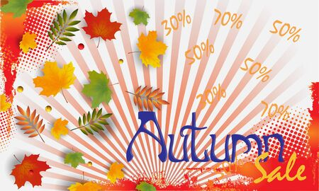 Autumn sale banner with leaves. Can be used for shopping sale, banner, invitation, website or greeting card. Vector illustration Banco de Imagens - 132124561