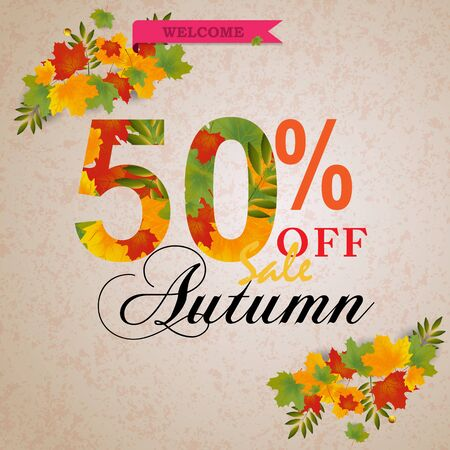 Autumn 50% sale banner with leaves. Can be used for shopping sale, banner, invitation, website or greeting card. Vector illustration Stok Fotoğraf - 132125040