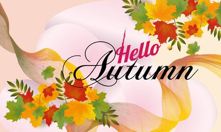 Autumn sale banner with leaves. Can be used for shopping sale, banner, invitation, website or greeting card. Vector illustration