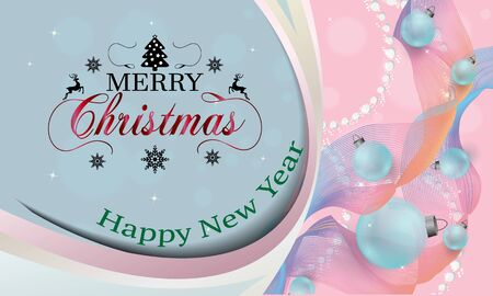 Design background Merry Christmas and Happy New Year with Christmas balls toys. vector illustration.