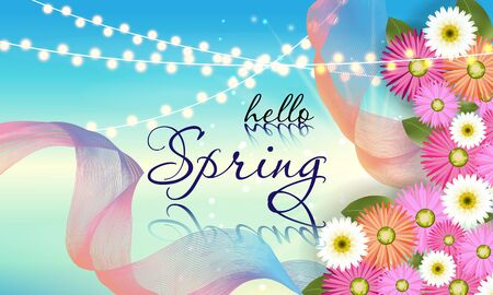 Spring banner with beautiful flower. Can be used for template, banners, wallpaper, flyers, invitation, posters, brochure, voucher discount. Vector illustration - Images vectorielles Ilustrace