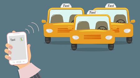 Concepto de servicios de taxi. Llamada telefónica en la pantalla. Tres taxis amarillos sin taxista. Ilustración vectorial
