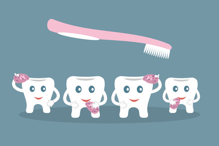 Humorous concept brushing teeth. Sponges and pink toothbrush on blue background. Ideal for advertising dental services. Vector illustration