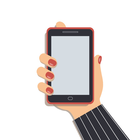 A mobile phone in the cute female`s hand. A smartphone in businesswoman`s hand. A sleeve of a striped suit. Red nails. Vector illustration