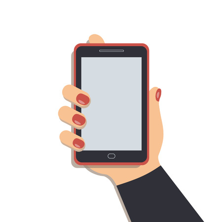 A mobile phone in the cute female`s hand. A smartphone in businesswoman`s hand. A navy sleeve. Red nails. Vector illustration Illustration