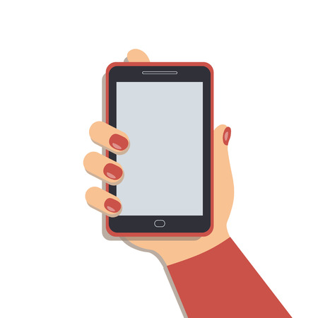 A mobile phone in the cute female`s hand. A smartphone in businesswoman`s hand. A red sleeve. Red nails. Vector illustration