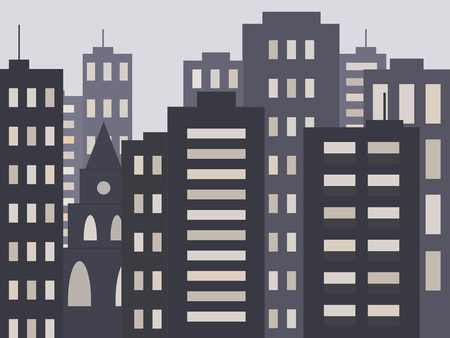 City houses and buildings or Vector illustration Illustration