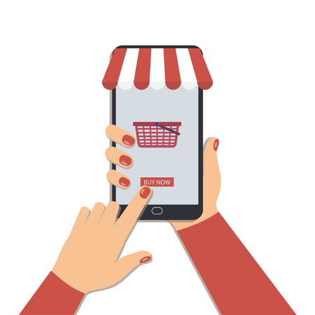 The concept of online shopping with a mobile phone. Illustration