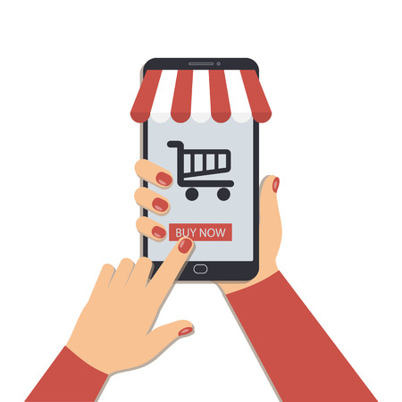 The concept of online shopping using a mobile phone.