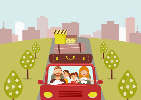 Beautiful cartoon girl and woman are going to vacation. Mom is driving a red car. There are few suitcases and boxes on the roof of the car. Road, trees. Vector illustration