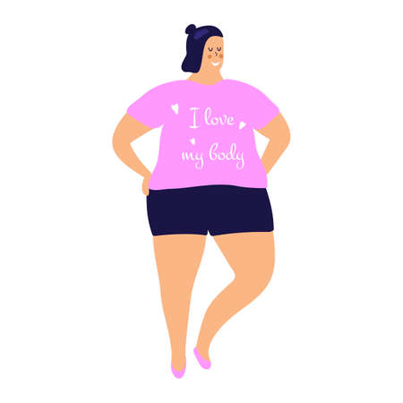 Body Positivity: cute young plump girl with more size-inclusive body. Concept of evolving beauty standards, diversity and authenticity in each individual.