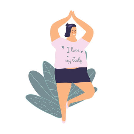 Body positivity cute young plump girl with more size-inclusive body do yoga. Plumpish lady in tree pose. Concept of evolving beauty standards and diversity. Inscription I love my body.Vector illustration