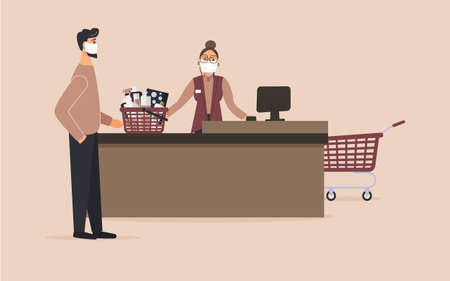 Supermarket during epidemic of virus.Cashier in protective medical mask is behind cash register serve guy with basket with cleaning products.Teller workplace on pink background.Vector illustration