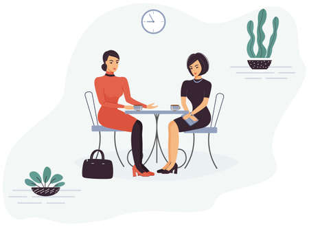 Two cute funny smart beautiful women colleagues are sitting in a cafe at a table, talking and drinking coffee or tea during break. Trendy green home plants and wall clock. Flat  illustration