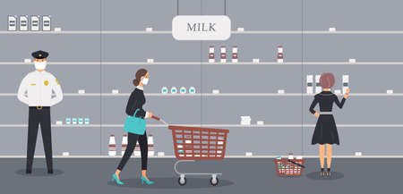 Grocery store is open during epidemic of virus. Security guard in protective medical mask and customer selects milk and other products on half-empty shelves in dairy department.Vector illustration Ilustración de vector