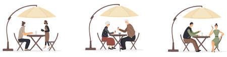 Set of men and women sitting at tables under umbrella in cafe or restaurant talking to each other, drinking coffee or wine, making an order to waitress during epidemic of virus. Vector illustration Ilustracja