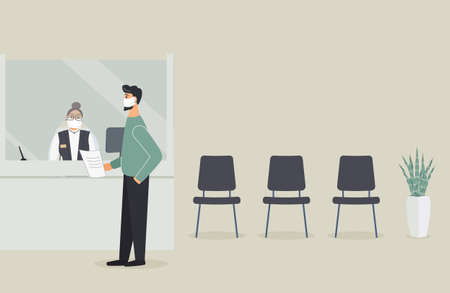 Bank office is open during epidemic of virus.Employee in protective medical mask behind counter serve customer.Client stand in hall near cash register window and talk to clerk.Vector flat illustration Vektoros illusztráció