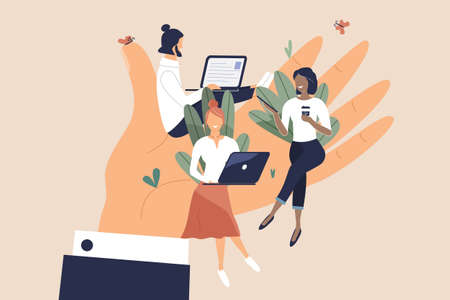 Tiny office workers sitting on huge hand. Concept of good comfortable environment at work, favorable psychological climate, high pay and freedom of creativity for employees. Vector flat illustration Illusztráció