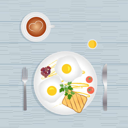 Breakfast meals and healthy morning food - fried eggs, toast, vegetables, tomatoes, beans, parsley and sauce. Coffee latte with heart pattern.Realistic vector illustration for restaurant advertisement