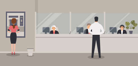 Bank office interior: Bank clerks sit behind barrier with glass, ATM or cash machine, bin. Elegant interior financial institution. Hall with bank counter with plant monstera in pot. Vector illustration