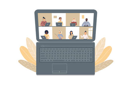 The concept of business videoconference, distance learning or online training during the virus epidemic.Laptop with a lot of open windows on Internet page with different people.Vector illustration 矢量图像