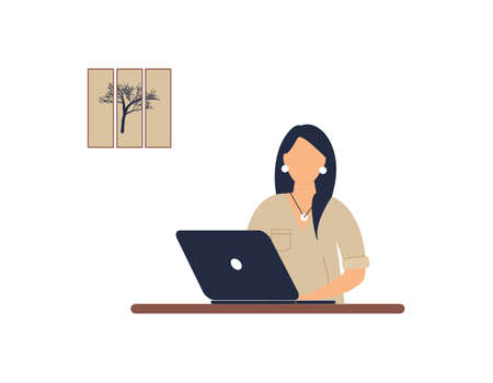 Woman tutor work on laptop. Concept of remote work, distance learning or online training during the virus epidemic.Cute lady trainer or coach conduct webinar or workshop.Vector colorful illustration