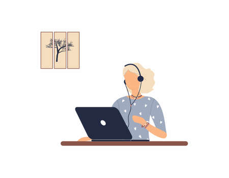 Girl tutor with headphones work on laptop.Remote work, distance learning or online training during the virus epidemic.Lady trainer or coach conduct webinar or workshop.Vector colorful illustration