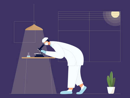 Vaccine discovery. Chemical laboratory research. Scientist in facial mask with microscope and flask working on antiviral treatment development late evening. Vector illustration in flat cartoon style