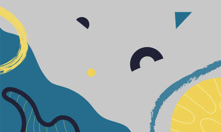 Abstract Graphic  art in soft yellow, navy and blue colors 矢量图像