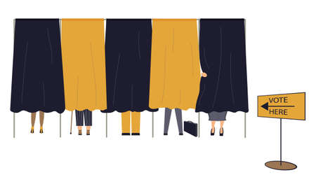 Political election process. Bundle of people are in the voting booths putting ballots in box at polling station, choosing a candidate or voting for politicians. Vector cartoon illustration