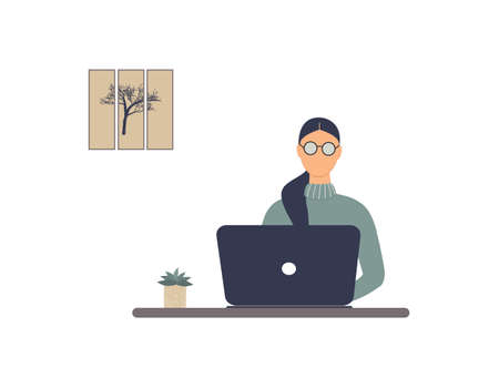 Faceless woman tutor work on laptop.Remote work, distance E-learning or online training during virus epidemic. Lady trainer or coach conduct webinar, seminar or workshop.Vector colorful illustration