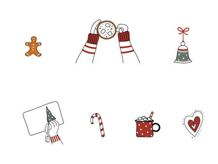 Set of Christmas hand-drawn design elements. Art collection of New Year cute festive things.Lady hands hold cup of coffee, gingerbread man, candy cane, bell, heart and hand drawing fir-tree.Vector