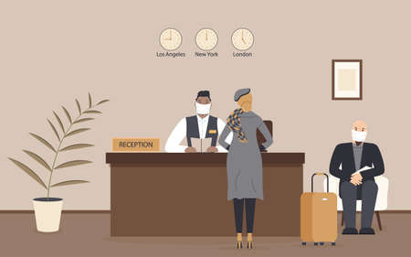 Receptionist afro male in protective medical mask behind workplace serve lady in hotel or bank.