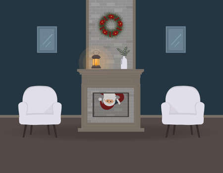 Christmas eve. Cute funny Santa Claus sneaks into the house through the fireplace and you can only see his face. A beautiful Christmas wreath and an old lamp with a candle. For websites, press.Raster Stock Photo