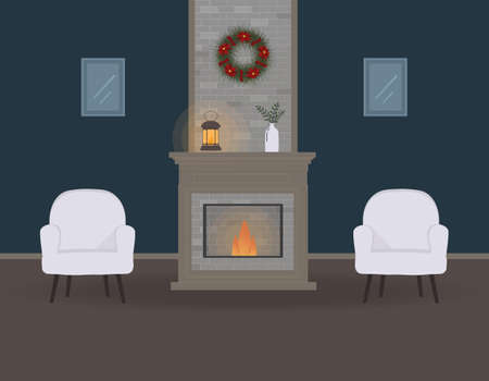 Christmas eve or noel. Cute living room with fireplace. Cozy interior with furniture and pictures.Beautiful Christmas wreath, old lamp with a candle and vaze with plants. For websites, press.Raster