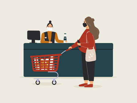 Grocery store during epidemic of virus.Cashier in protective medical mask is behind cash register serves customer pregnant woman.Red shopping cart with purchases.Teller workplace in supermarket.Raster
