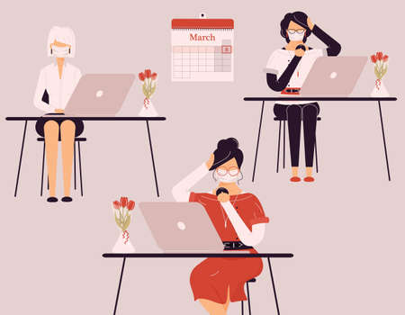 March 8 International Women Day.Cute female in protective medical masks work on laptops during virus.Vases with tulips on desk.Smart ladies trainers, clerks, accountants or auditors at accounting.Vector Ilustración de vector
