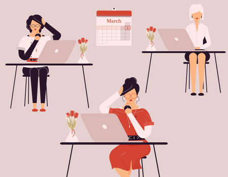 March 8 International Women Day.Cute female collective work on laptops.Vases with tulips on desks.Ladies` group of smart trainers, clerks, accountants or auditors at accounting.Vector illustration