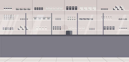 Pharmacy interior with no people. There are a barrier, shelves with a wide range of medicines, cures, sprays and other medical products in drugstore.For advertising pharmacies.Vector illustration