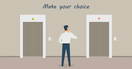 A man is standing in thought in front of two elevators and having choice: up or down. Concept of making decision or metaphor. Inscription Make your choice.Male in doubt.Vector flat design illustrations