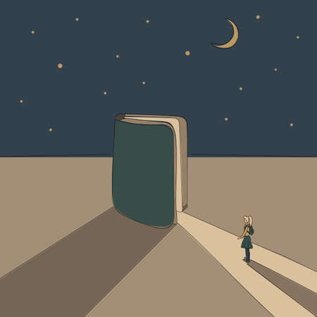 Concept: book is source of knowledge.Half-open book from which ray of light fall in which tiny girl stand ready to immerse herself in reading.On background of a starry sky with month.Hand drawn vector